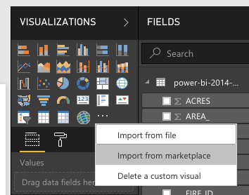 Screenshot showing how to import a visual from marketplace in Power BI