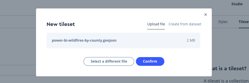 Screenshot showing the Confirm button in the New tileset window in Mapbox Studio