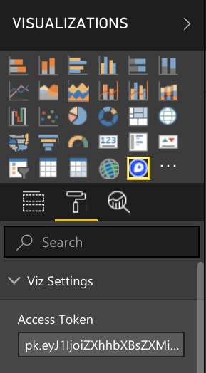 A screenshot showing where to add your Mapbox access token to the Power BI Viz Settings panel