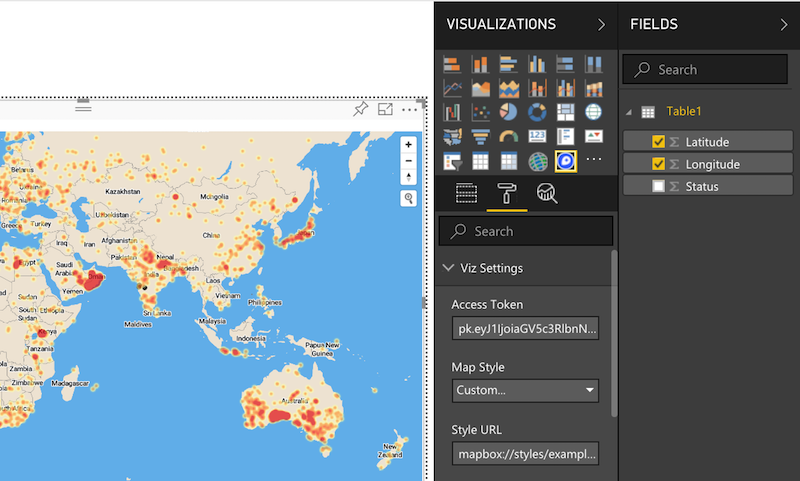 Screenshot showing that the Map Style should be set to Custom and where to paste the Mapbox style URL in Power BI