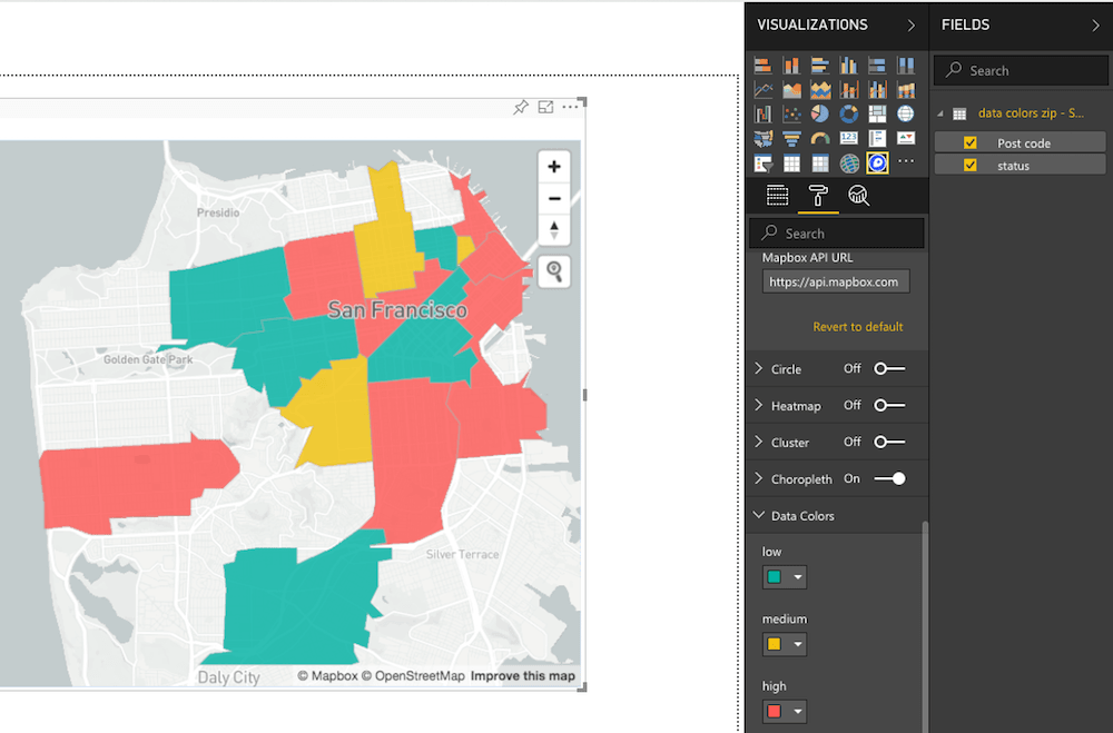 Screenshot showing the Data Colors option in Power BI when the Choropleth option is selected