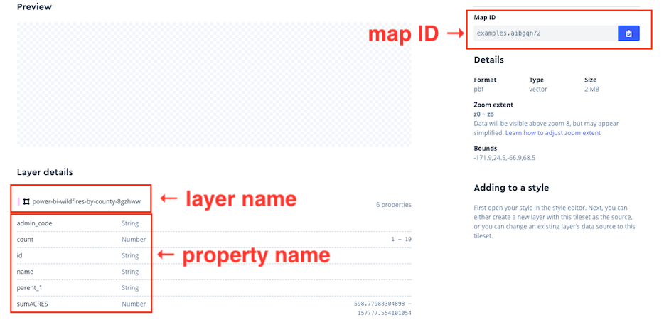 Screenshot showing the elements necessary to add a tileset to Power BI: the map ID, the layer name, and the property name