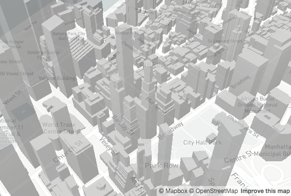 map showing 3d buildings where height is assigned according to a data property