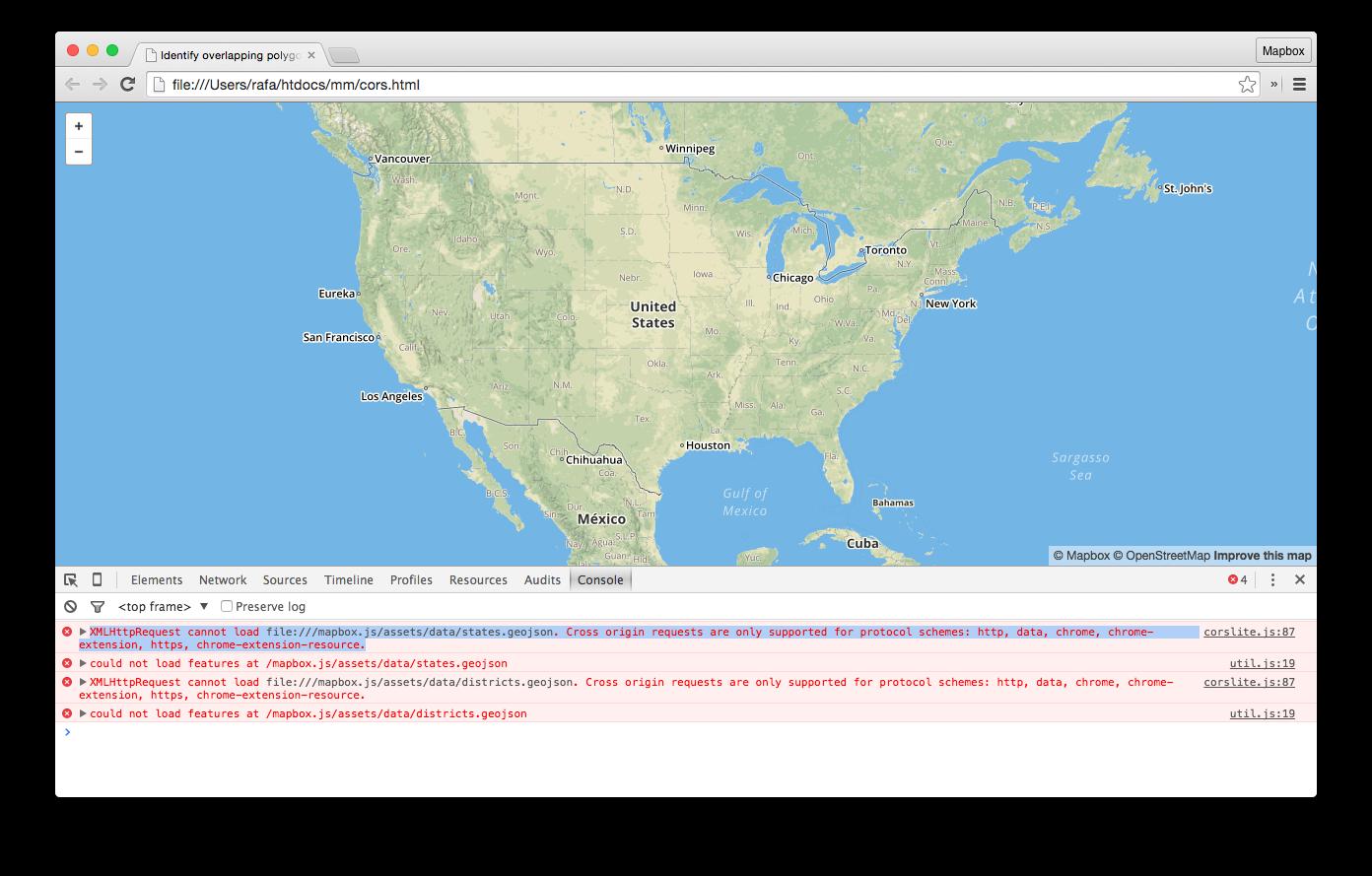CORS errors | Mapbox