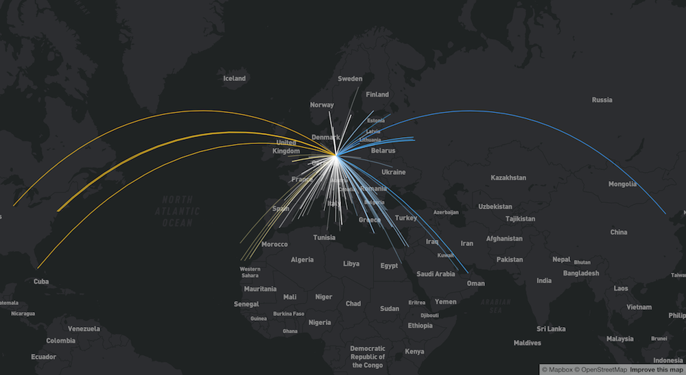 colored line map showing flight paths