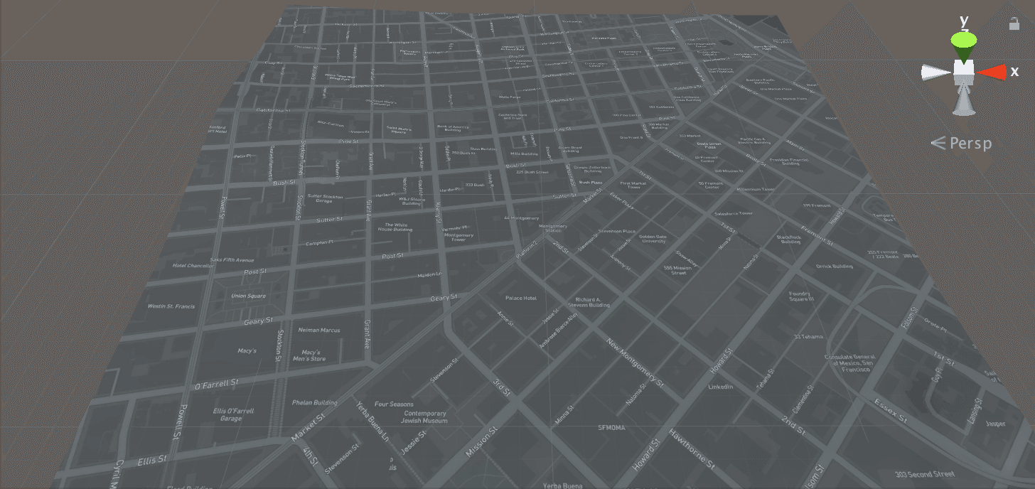A basic map of San Francisco using the built in Dark theme